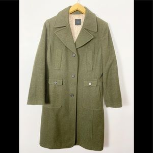 J Crew Wool Trench Coat Large Size 12 Green